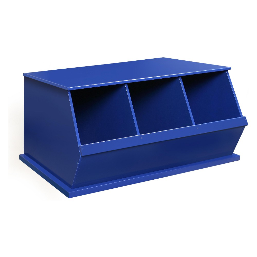 Badger Basket Three Bin Stackable Storage Cubby Blue