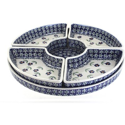 Blue Rose Polish Pottery Blue Daisy Tray with 4 Plates