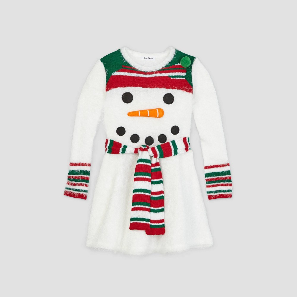 Reviews Girls' Ugly Holiday Snowman Long Sleeve Dress - Bright