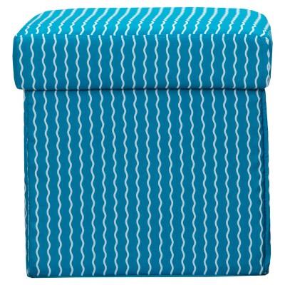 """Blue Crayola Serpentine Stripe Cerulean Box Ottoman (15""""x15"""")"""