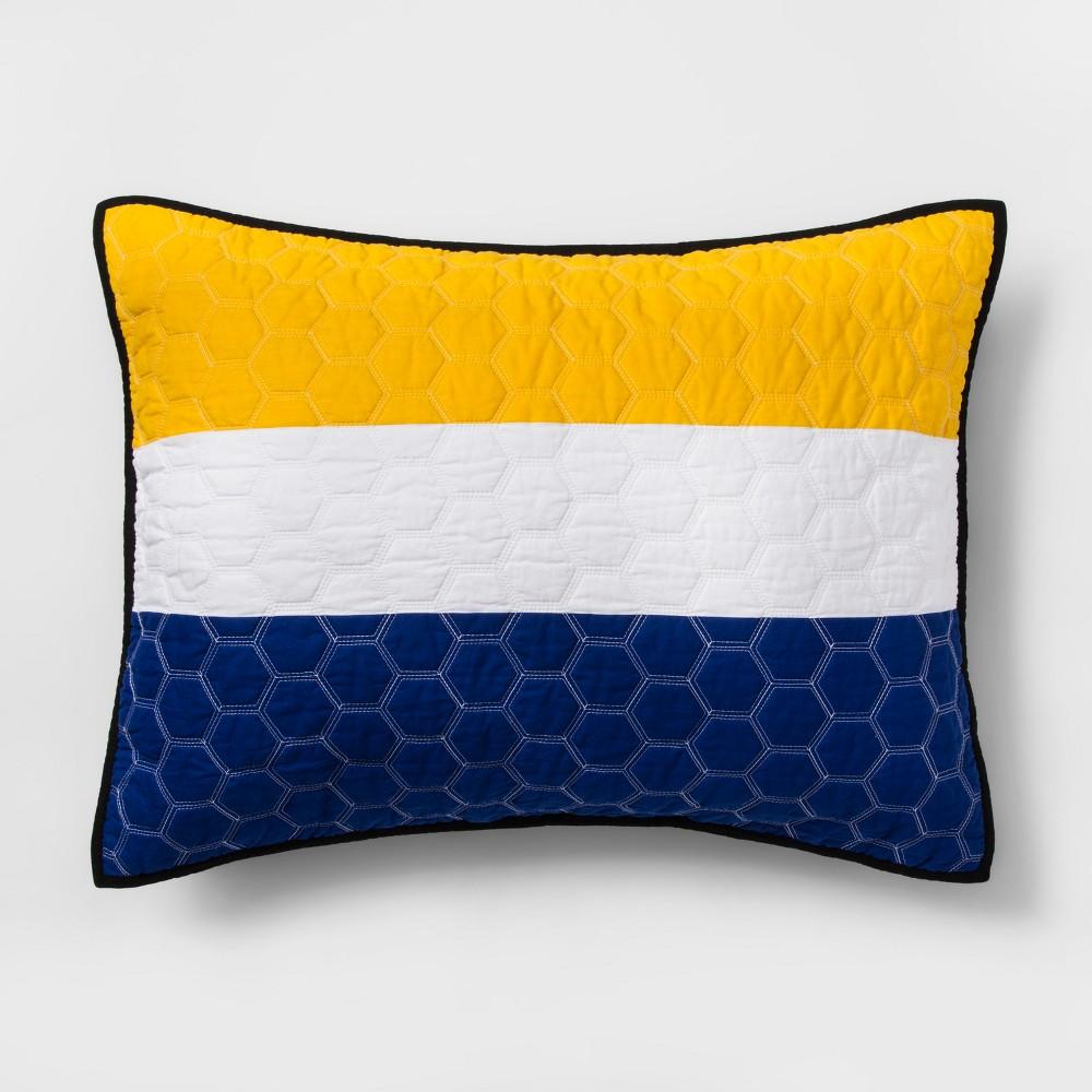 Standard Sports Stripe Pillow Sham Gray - Pillowfort