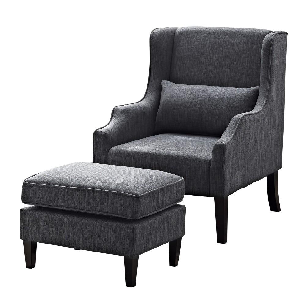 Fabulous Leyton Wingback Club Chair And Ottoman Slate Gray Linen Look Ncnpc Chair Design For Home Ncnpcorg