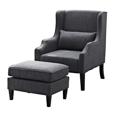 Pleasing Leyton Wingback Club Chair And Ottoman Slate Gray Linen Look Fabric Wyndenhall Cjindustries Chair Design For Home Cjindustriesco