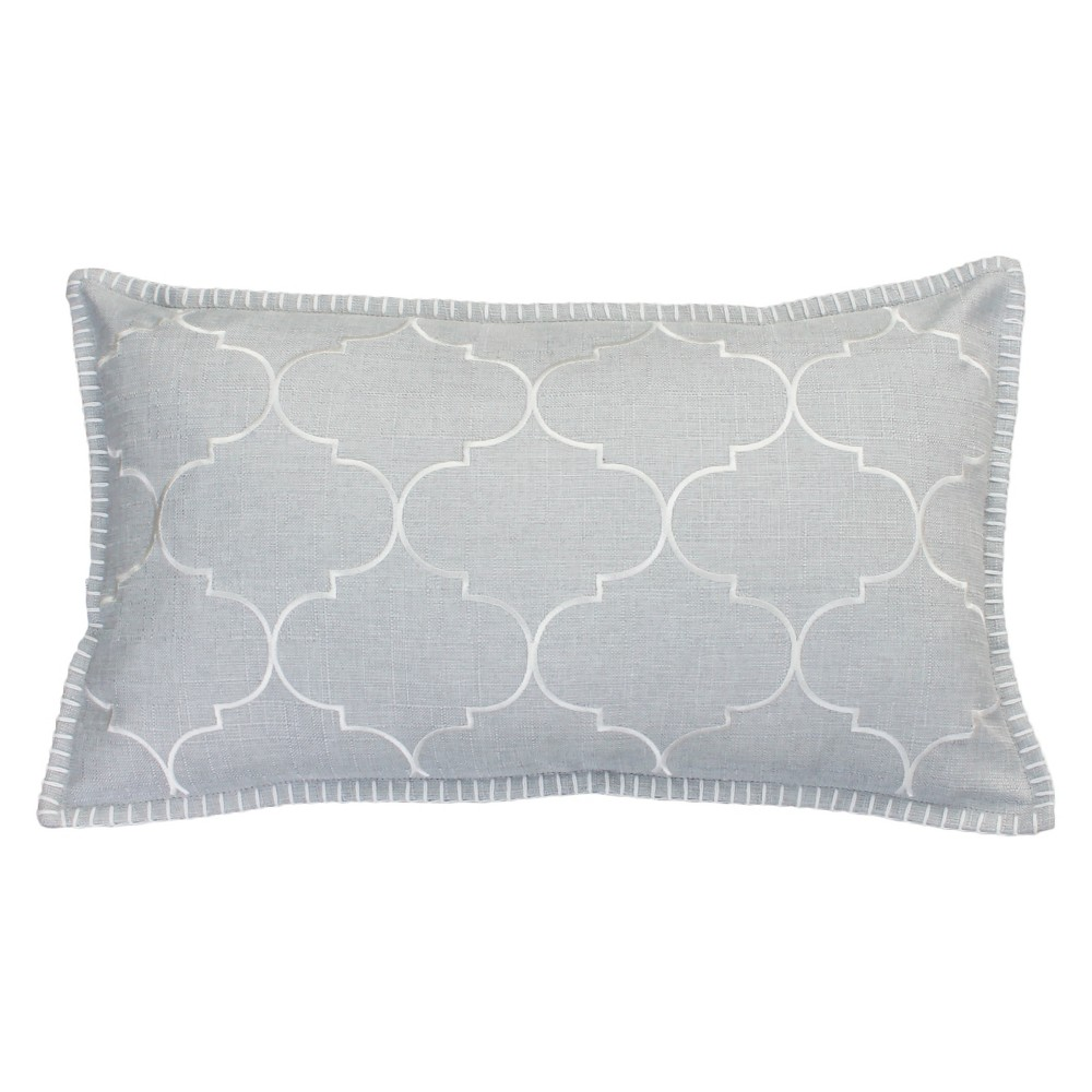 Image of Ava Whipstitch Embroidered Oversize Lumbar Throw Pillow Silver - Decor Therapy
