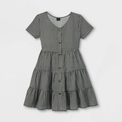 Girls' Tiered Button-Front Short Sleeve Dress - art class™
