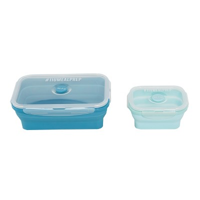 Tone It Up Meal Prep Collapsible Container 2pk Set - Dusty Blue