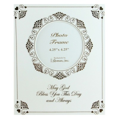 "Roman 4.25""x 4.25"" Baptism Christening Porcelain Square Photo Picture Frame - White/Gold"
