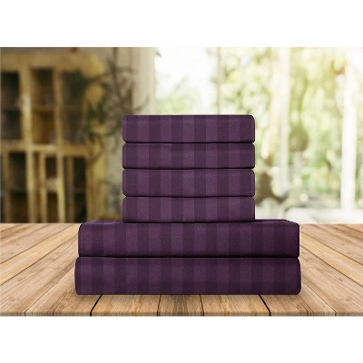 Elegant Comfort Luxurious Silky Soft Wrinkle & Fade Resistant 6-Piece Dobby Stripe Bed Sheet Set.