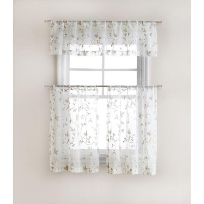GoodGram Floral Embroidered Sheer Kitchen Curtain Tier & Valance Set