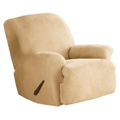 Stretch Suede Recliner Slipcover Camel - Sure Fit