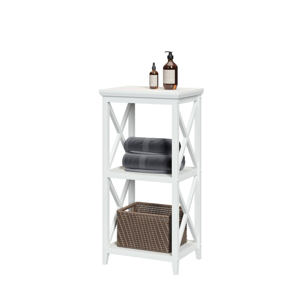 Image of 3 Shelf Cross Frame Etagere Tower White