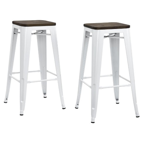 Pleasant 30 Fusion Metal Backless Bar Stool With Wood Seat Set Of 2 White Dorel Home Products Creativecarmelina Interior Chair Design Creativecarmelinacom