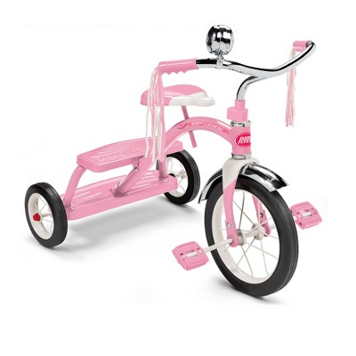 Radio Flyer 33PZ 12 Inch Spoked Front Wheel Kids Classic Style Steel Framed Dual Deck Tricycle with Handlebar Bell and Streamers, Pink