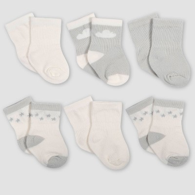 Gerber Baby 6pk Giraffe Wiggle Proof Crew Socks - Turquoise/Gray 0-6M