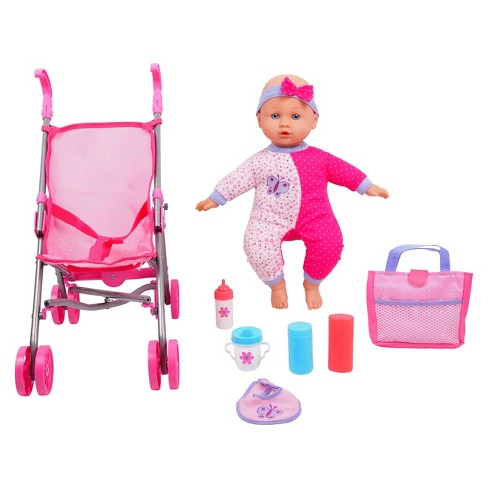 "Gi-Go Toy 14"" Baby Doll with Stroller Set - image 1 of 2"