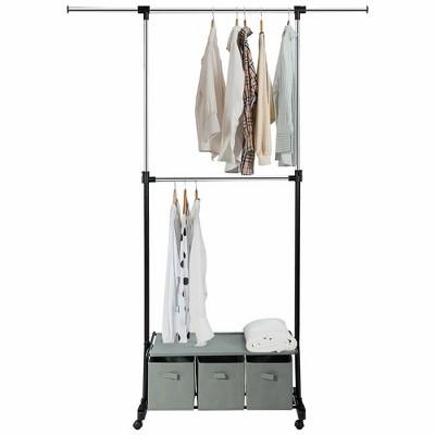 Costway 2-Rod Adjustable Garment Rack Rolling Clothes Organizer w/ Shelf & Storage Boxes