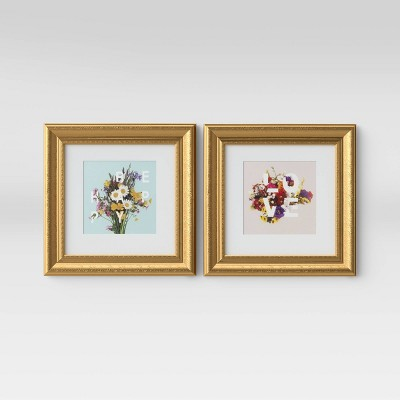"(Set of 2)12"" x 12"" Love and Be Happy Framed Wall Print - Opalhouse™"