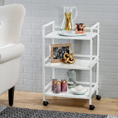 Honey-Can-Do 3-Tier Metal Rolling Cart White