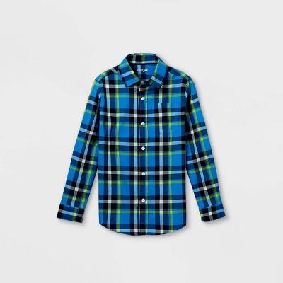 Boys' Woven Long Sleeve Button-Down Shirt - Cat & Jack™ Dark Blue/Green