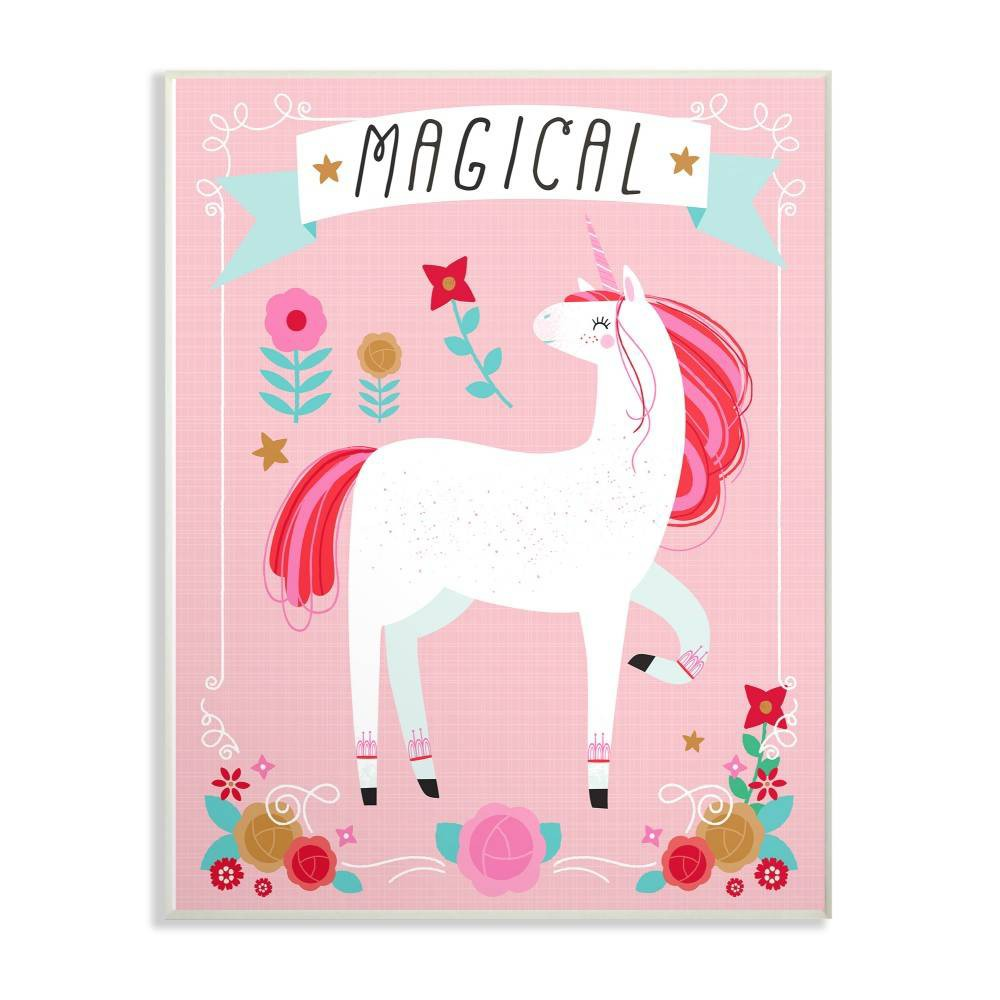 """Image of """"10""""""""x0.5""""""""x15"""""""" Magical Colorful Unicorn Wall Plaque Art - Stupell Industries"""""""