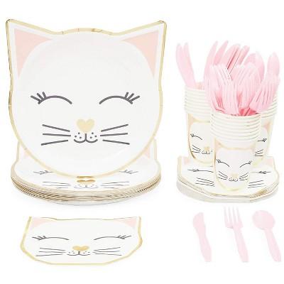 Blue Panda Serves 24 Cat Themed Party Supplies, 144PCS Plates Napkins Cups, Favors Decorations Disposable Paper Tableware Kit Set for Kids Boys Girls