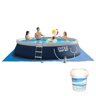 Intex Easy Set 15ft x 42in Inflatable Outdoor Above Ground Swimming Pool Bundle with Filter Pump & Pool Care 3-Inch Chlorine Tablets, 10 Pounds