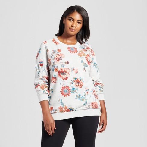 a92647e8744 Women's Plus Size Floral Print Sweatshirt - Ava   Viv™ Gray Red   Target