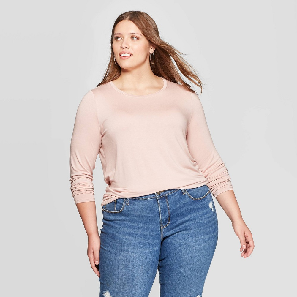 Women's Plus Size Long Sleeve Crewneck T-Shirt - Ava & Viv Blush 4X, Size: 4XL was $12.0 now $8.4 (30.0% off)
