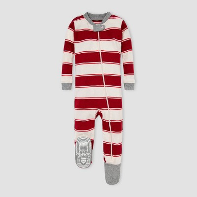 Burt's Bees Baby® Baby Organic Cotton Rugby Striped Footed Pajama - Red 0-3M