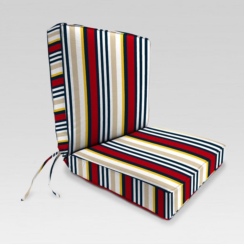 Outdoor Boxed Edge Dining Chair Cushion - Red/Cream Stripe - Jordan Manufacturing