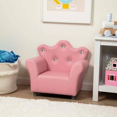 Melissa & Doug Child's Crown Armchair - Pink Faux Leather