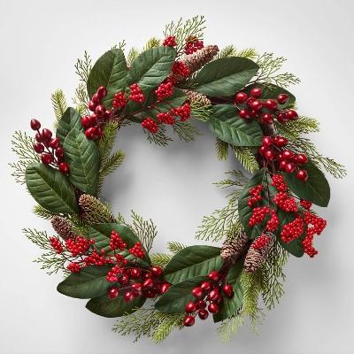 22in Unlit Berry Pinecone Magnolia Artificial Wreath - Wondershop™