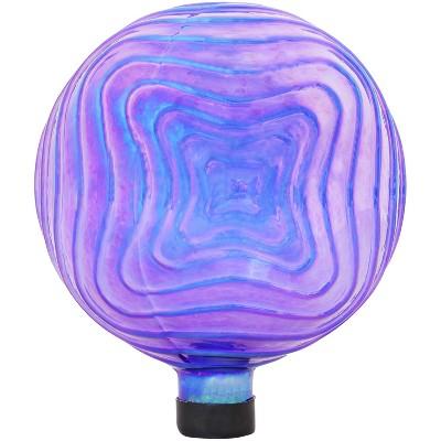 Sunnydaze Outdoor Peaceful Waves Rippled Texture Glass Gazing Globe Ball - 10??? Diameter - Blue