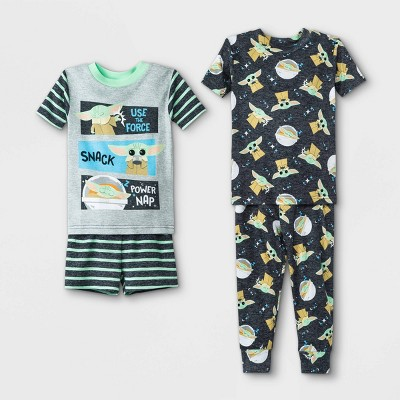 Toddler Boys' 4pc Star Wars Baby Yoda Pajama Set - Gray