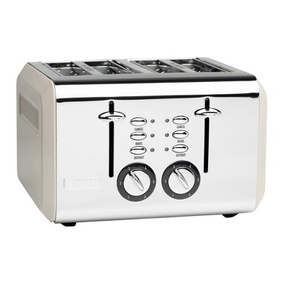 Haden 75011 Cotswold Wide Slot Stainless Steel Body Countertop Retro 4 Slice Toaster with Adjustable Browning Control, Putty Beige
