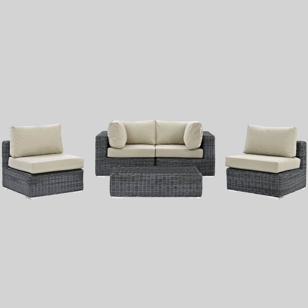Summon 5pc Outdoor Patio Sectional Set with Sunbrella Fabric - Beige - Modway