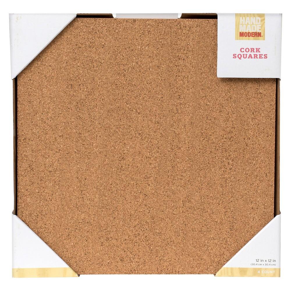 Hand Made Modern - 12x12 Corkboard - 4ct, Brown
