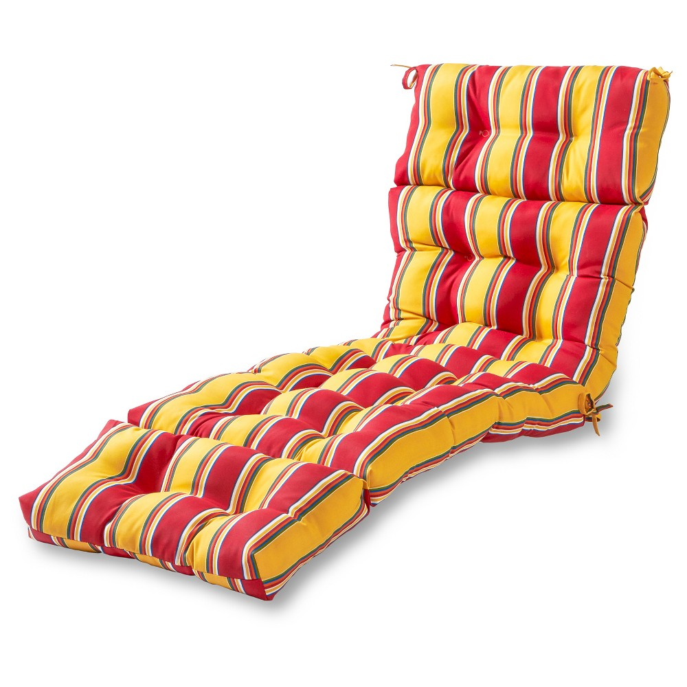 Image of Carnival Stripe Outdoor Chaise Lounge Cushion - Greendale Home Fashions, Red Stripe