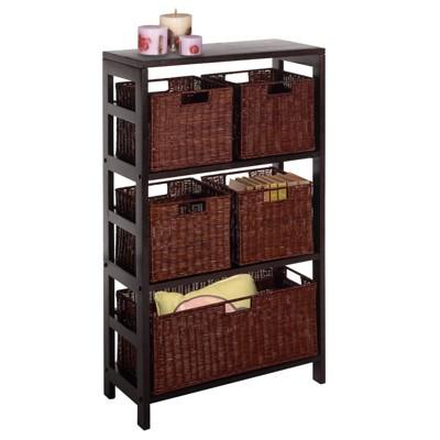 '42'' 5 Piece Wire Baskets with Wide Shelf Espresso - Winsome'