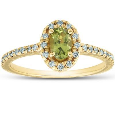 Pompeii3 1/2 Ct TW Oval Peridot & Diamond Halo Ring 14k Yellow Gold