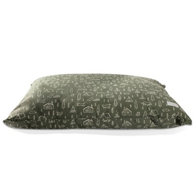 PetShop by Fringe Studio Camping Olive Pillow with Poly Fill Dog Bed - L