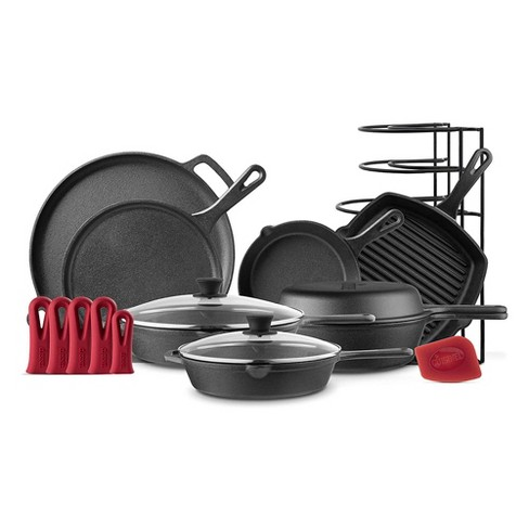 Cuisinel 11 Piece Kitchen Essential Pre Seasoned Cast Iron Chef Cookware Set With 3 Skillets 2 Griddles Pizza Pan Dutch Oven And Rack Organizer Target