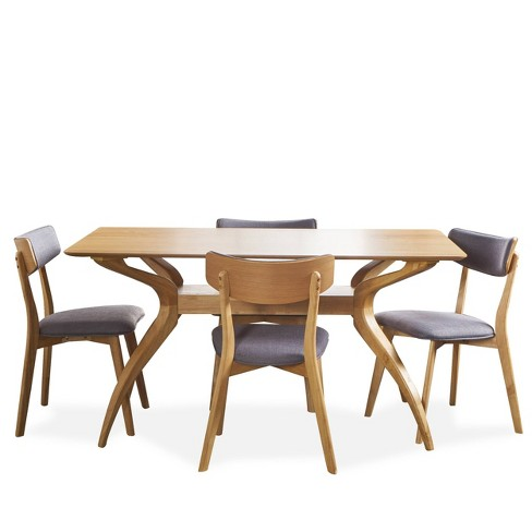 5pc Nissie Mid Century Curved Leg Dining Set - Christopher Knight Home - image 1 of 4
