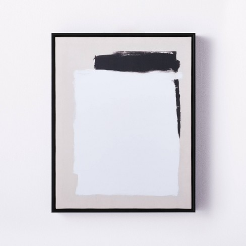 """16"""" x 20"""" Neutral Abstract Framed Wall Canvas Black/White - Threshold™ designed with Studio McGee - image 1 of 3"""