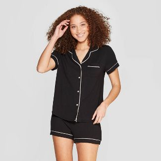 Womens Beautifully Soft Notch Collar Pajama Set - Stars Above™ Black L