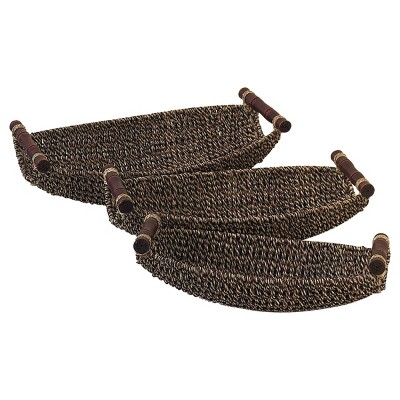 """Olivia & May 15""""x17""""x19"""" Set of 3 Rustic Woven Seagrass and Metal Baskets"""