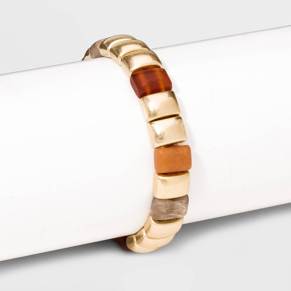 Semi-Precious Stones Peach Moonstone Red Aventurine Matte Carnelian Single Strand Stretch Bracelet - Universal Thread Red, Women's was $12.99 now $9.09 (30.0% off)