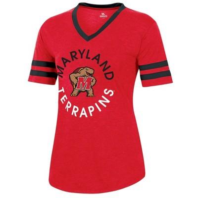 NCAA Maryland Terrapins Women's Short Sleeve V-Neck Heathered T-Shirt