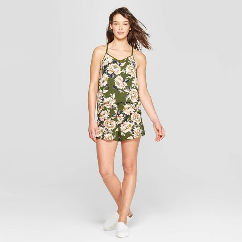 Women's Floral Print Beautifully Soft Cami and Shorts Pajama Set - Stars Above™ Green - image 1 of 2
