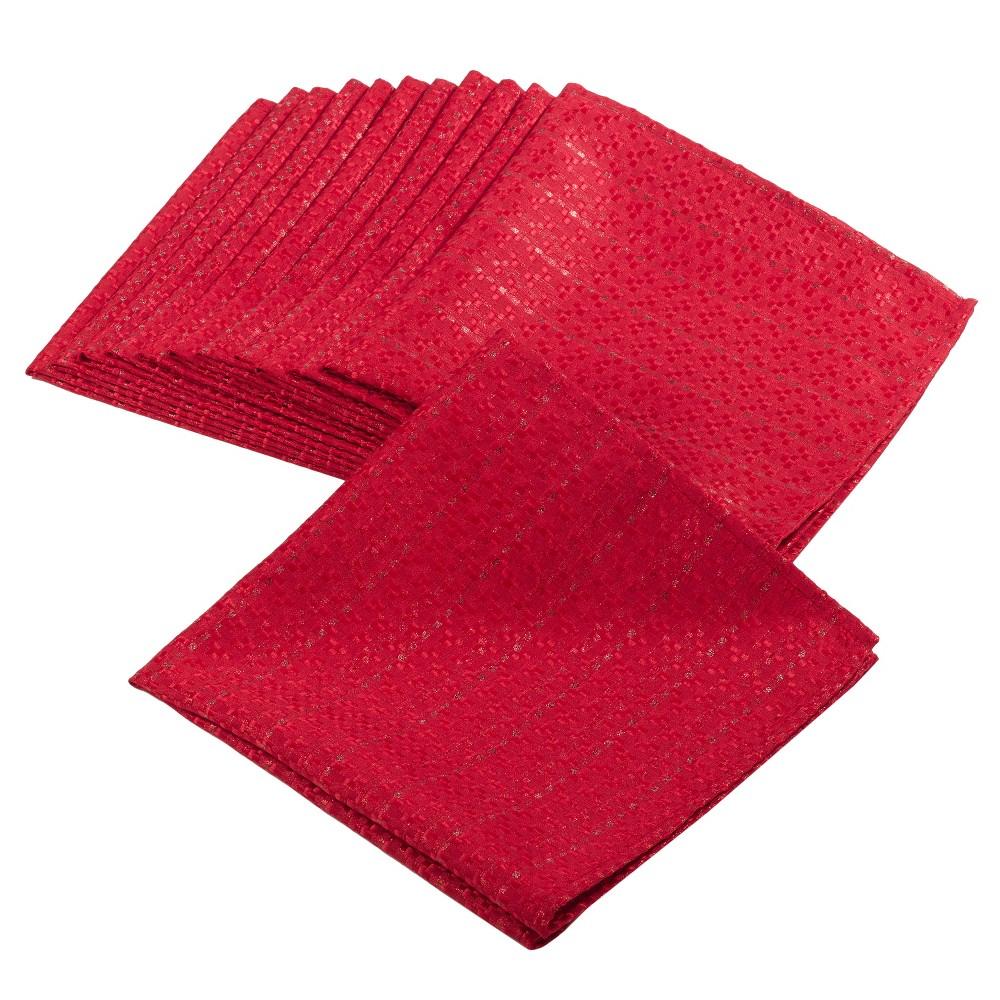 (Set of 4) Red Gloria Stitched Design Napkin (20) - Saro Lifestyle